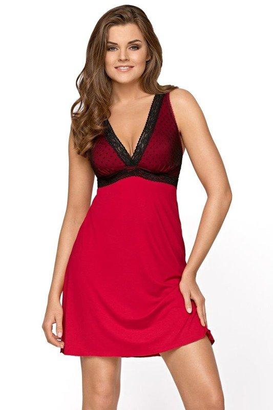 Koszula nocna z koronką Valerie Babella czerwono-czarna